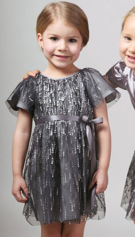 Halabaloo Grey Silver Diamond Tulle Dress sz 2T only