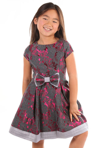 Us Angels Brocade Silver and Fuchsia Dress Toddler & Girl Sizes Only