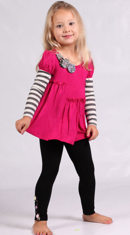 Baby Sara Fuschia Tunic with Striped Sleeves sz 12 mos & 2T only