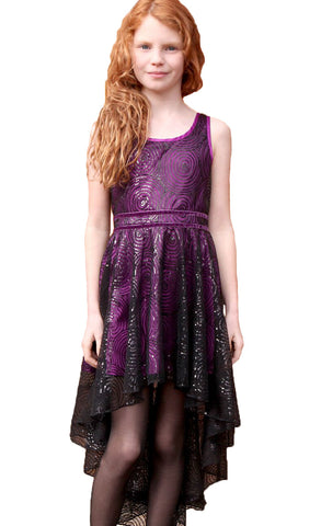 Hannah Banana Purple Sequin Swirl High Low Dress for Tweens & Teens