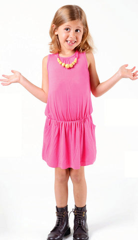 Imoga Pat Dress in Candy Pink with Wooden Bead Necklace sz 2 & 10 only
