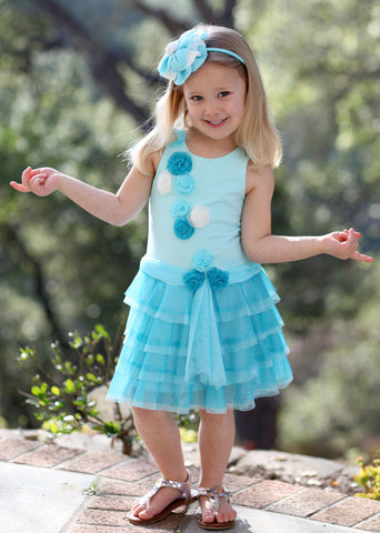 Isobella and Chloe Swan Lake Flowered Tutu Dress in Turquoise sz 12 mos & 10 & 12 only