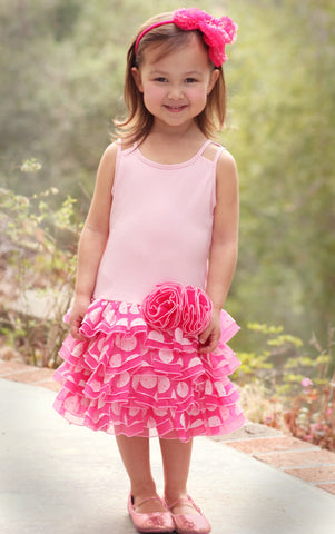 Isobella and Chloe Tiny Dancer Knit Dropwaist Dress with Dotty Tulle size 3m only
