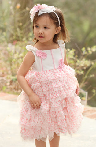 Isobella and Chloe Heaven Sent Pink Ruffled Dress sizes 3m, 4T, and 4 only