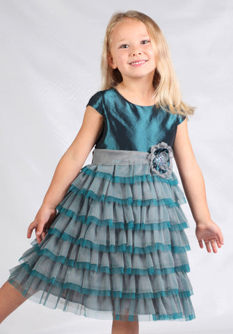 Isobella and Chloe Opal Taffeta Cap Sleeve Dress in Teal for Babies & Girls sizes 4 and 4T only