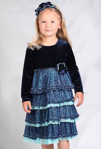 Isobella and Chloe Sabrina Blue Velvet Vintage Empire Waist Dress sz 2T & 3T  only