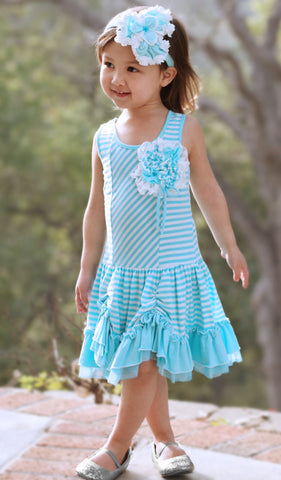 Isobella and Chloe Candyland Knit Dress in Blue sz 2T only