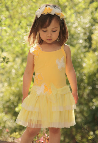 Isobella and Chloe Rainbow Sorbet Butterfly Dress in Lemon