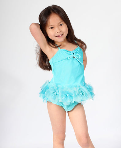 Isobella and Chloe Raine Tutu Flower Tankini in Tiffany sz 24 mos only