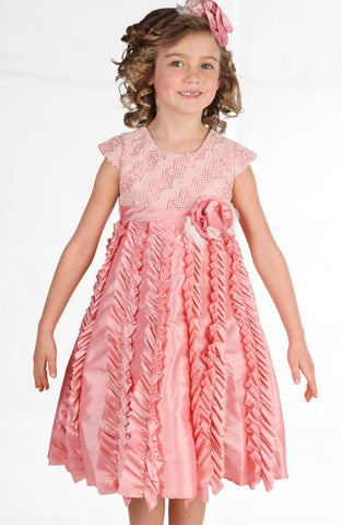 Isobella and Chloe Candied Ginger Crochet & Taffeta Dress