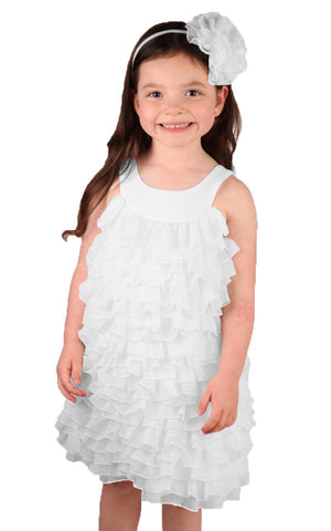 Isobella and Chloe Darleen All Ruffle Crepe Dress in White sz 2t & 4t only