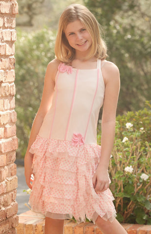 Isobella and Chloe Heaven Sent Pink Ruffled Dress with Criss Cross Straps sz 10 & 12 only