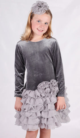 Isobella and Chloe Leslie Silver Grey Velvet Dress sz 2T & 5 only