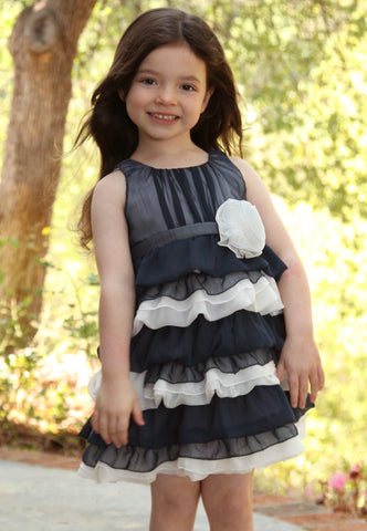 Isobella and Chloe Navy & White Crinkle Chiffon Dress for Toddlers