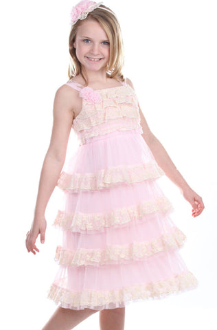 Isobella and Chloe Vintage Lace Dress in Pink Cloud for Toddlers to Teens