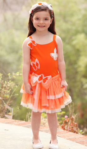 Isobella and Chloe Rainbow Sorbet Butterfly Dress in Tangerine
