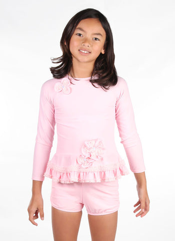 Isobella and Chloe Pretty in Pearls Rash Guard and Boy Shorts Swimsuit 3m 6m
