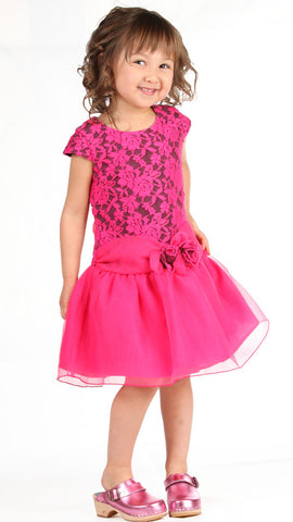 Isobella and Chloe Raspberry Cloud Lace Dress