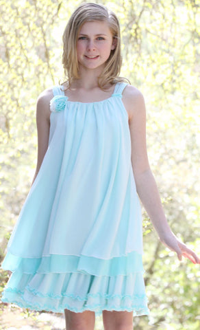 Isobella and Chloe Sydney Chiffon Tent Dress in Aqua Blue  sz 8 only