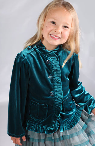 Isobella and Chloe Sienna Blue Velvet Dress Jacket sz 3T & 5 only