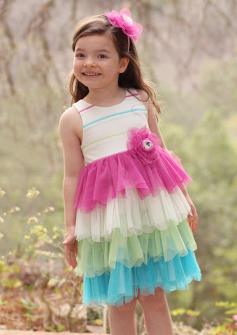 Isobella and Chloe Tutti Frutti Dress for Babies & Toddlers sizes 6m, 9m and 2T only