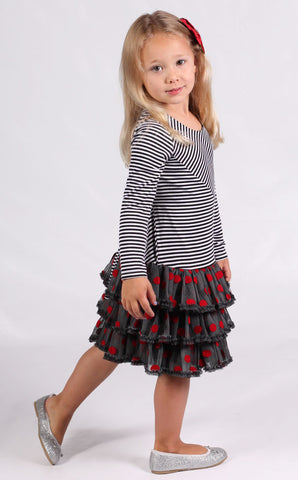 Isobella and Chloe Red Polka Dots and Black Stripes Dress for Girls sz 5 only