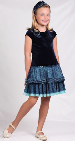 Isobella and Chloe Sabrina Blue Velvet Vintage Dress sz 5 & 7 only
