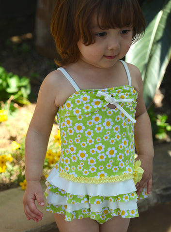 Isobella and Chloe Cordelia 2-Pc Tankini in Lime Green for Babies sz 24m only