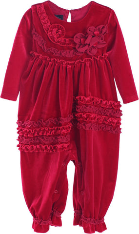 Isobella and Chloe Kaylee Holiday Christmas Romper in Red Velvet for Babies