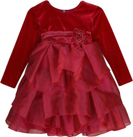 Isobella and Chloe Ruby Kiss Empire Waist Dress Great for Holidays and Christmas 24m 3T 6 & 6x