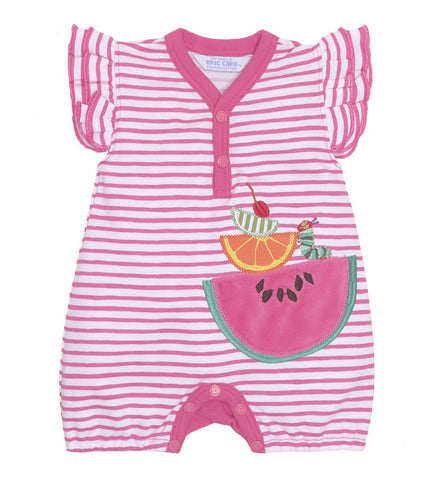 Jaxxwear Pima Cotton Eric Carle Hungry Caterpillar Watermelon Flutter Sleeve Romper