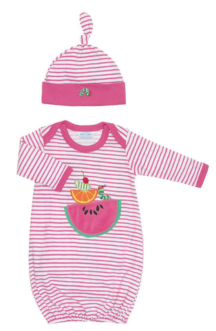 Jaxxwear Pima Cotton Eric Carle Hungry Caterpillar Watermelon Layette Gown for Newborns
