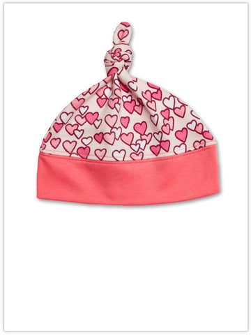 Jaxxwear Sweet Hearts Knotted Baby Cap in Melon