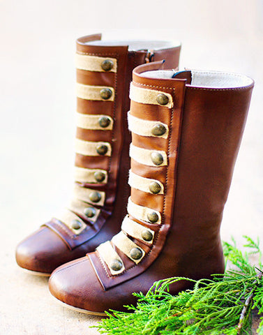 Joyfolie Leighton Military Style Boots in Brown