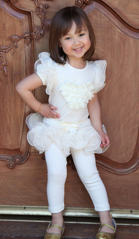 Maeli Rose Rosette Heart Top with Sparkle Flutter Sleeves in Ivory for Babies