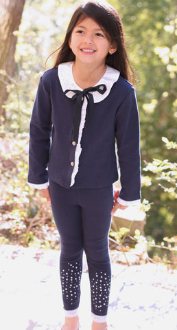 Maeli Rose Navy Cardigan with Removable Satin Collar