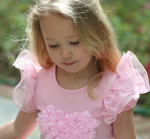 Maeli Rose Rosette Heart Top with Sparkle Flutter Sleeves in Pink
