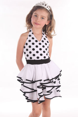Kate Mack Opposites Attract B/W Halter Dress for Girls sz 6x only
