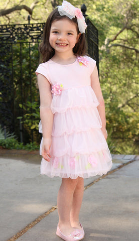 Kate Mack Secret Garden Pink Ruffled Bubble Dress for Toddlers