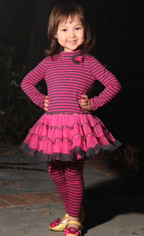 Kate Mack Bon Vivant Sparkly Fuchsia Striped Tutu Dress sz 18 mos & 2T only