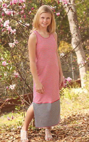 Kate Mack Eau So French Striped Knit Maxi Dress for Tweens