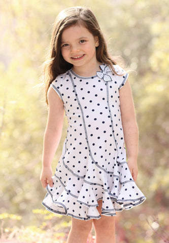 Kate Mack Navy and White Polka Dot Ruffle Flare Hem Dress