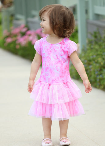 Kate Mack Rose Paradise Drop Waist Tutu Dress sz 24 mos only