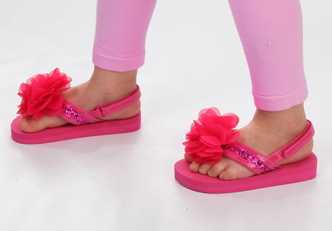 L'amour Adorable Flower Flip Flop Sandals in Fuchsia with and without Back Strap