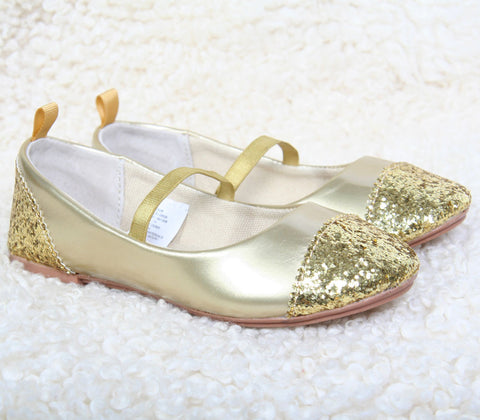 L'amour Glitter Gold Shoes sz 8 and 2 youth only