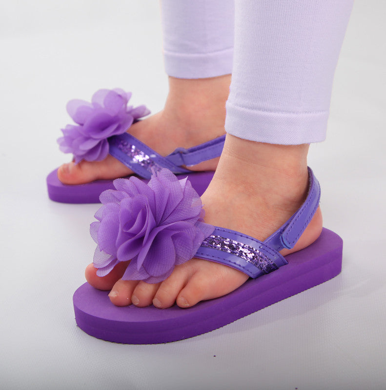 L Amour Adorable Flower Flip Flop Sandals In Purple With