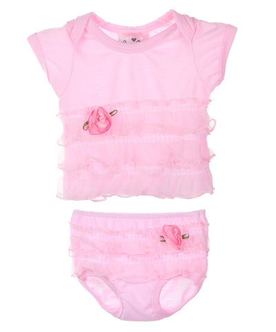 Laura Dare Frilly Pink Vintage Flair Baby Ruffled Top and Diaper Cover Set