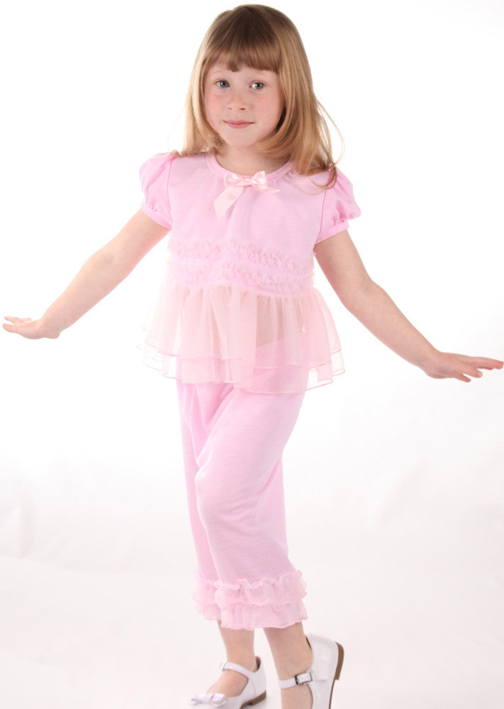 Laura Dare Frilly Pink Pajama Pants Set For Babies