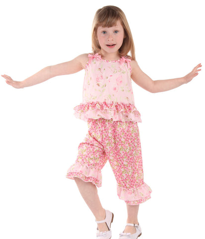 Laura Dare Secret Garden Ruffled Bow Pajamas sz 2T, 4T & 4 only