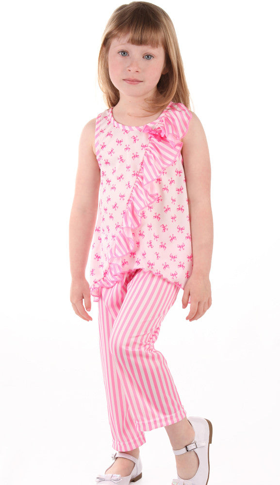 Laura Dare Sweet Bowtique Side Ruffle Sleeveless Pajamas